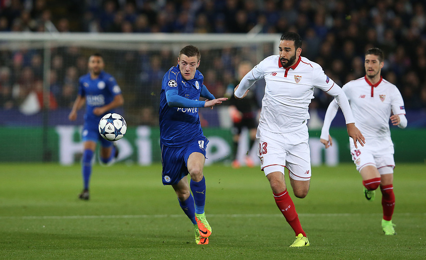 Leicester City's Jamie Vardy and Sevilla's Adil Rami<br /> <br /> Photographer Stephen White/CameraSport<br /> <br /> UEFA Champions League Round of 16 Second Leg - Leicester City v Sevilla - Tuesday 14th March 2017 - King Power Stadium - Leicester <br />  <br /> World Copyright &copy; 2017 CameraSport. All rights reserved. 43 Linden Ave. Countesthorpe. Leicester. England. LE8 5PG - Tel: +44 (0) 116 277 4147 - admin@camerasport.com - www.camerasport.com