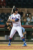 Scottsdale Scorpions first baseman Peter Alonso (20), of the New York Mets organization, at bat during an Arizona Fall League game against the Surprise Saguaros at Scottsdale Stadium on October 15, 2018 in Scottsdale, Arizona. Surprise defeated Scottsdale 2-0. (Zachary Lucy/Four Seam Images)