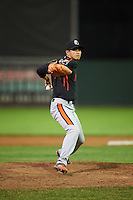 Aberdeen Ironbirds relief pitcher Yi-Hsiang Lin (20) delivers a pitch during a game against the Batavia Muckdogs on July 16, 2016 at Dwyer Stadium in Batavia, New York.  Aberdeen defeated Batavia 9-0. (Mike Janes/Four Seam Images)