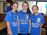 Ruth Gillespie, Anna McNally and Órlaith Carolan who took part in the Seamie Weldon memorial run at St. Mary's GAA club Ardee. Photo:Colin Bell/pressphotos.ie