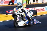 Jul. 25, 2014; Sonoma, CA, USA; NHRA pro stock motorcycle rider Adam Arana during qualifying for the Sonoma Nationals at Sonoma Raceway. Mandatory Credit: Mark J. Rebilas-