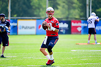 June 13, 2017: New England Patriots quarterback Tom Brady (12) throws a pass at the New England Patriots organized team activity held on the practice field at Gillette Stadium, in Foxborough, Massachusetts. Eric Canha/CSM