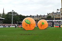 Jaffa-branded Zorb balls are raced across the Recreation Ground pitch at half-time. Aviva Premiership match, between Bath Rugby and Leicester Tigers on September 14, 2013 at the Recreation Ground in Bath, England. Photo by: Patrick Khachfe / Onside Images
