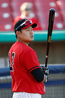 Ji-Man Choi #17 of the High Desert Mavericks before a game against the Stockton Ports at Stater Bros. Stadium on April 27, 2013 in Adelanto, California. Stockton defeated High Desert, 17-7. (Larry Goren/Four Seam Images)