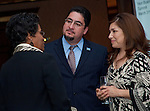 Joyce Wiley talks with Richard Cantu and Cecillia Saucedo at the East Aldine Strategic Partner Awards
