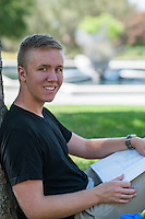 (Photo by Nick Harrington, Occidental College Class of 2017)<br /> <br /> Peter Johnson '18 studying on the quad, September 9, 2016.<br /> <br /> (Photo by Nick Harrington, Occidental College Class of 2017)