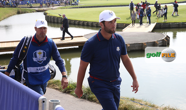 Jon Rahm (Team Europe) loses on the 18th during Friday's Fourballs, at the Ryder Cup, Le Golf National, Îls-de-France, France. 28/09/2018.<br /> Picture David Lloyd / Golffile.ie<br /> <br /> All photo usage must carry mandatory copyright credit (© Golffile   David Lloyd)