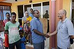 ETHIOPIA , Dire Dawa / AETHIOPIEN, Dire Dawa, IDP Camp fuer Somali Binnenfluechtlinge aus der Oromia Region  provisorisch in einem Sportkomplex von der Regierung untergebracht, links Camp Leiter Said und rechts Kapuziner Fr. Worku Demeke