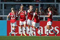 Jill Roord of Arsenal (14) scores the fifth goal for her team and celebrates with her team mates during Arsenal Women vs Tottenham Hotspur Women, Friendly Match Football at Meadow Park on 25th August 2019