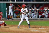 Keith Grieshaber (4) of the Orem Owlz at bat against the Billings Mustangs in Game 2 of the Pioneer League Championship at Home of the Owlz on September 16, 2016 in Orem, Utah. Orem defeated Billings 3-2 and are the 2016 Pioneer League Champions.(Stephen Smith/Four Seam Images)