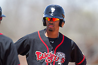 Lansing Lugnuts outfielder Dalton Pompey #15 looks on during a game against the Cedar Rapids Kernels at Veterans Memorial Stadium on April 30, 2013 in Cedar Rapids, Iowa. (Brace Hemmelgarn/Four Seam Images)