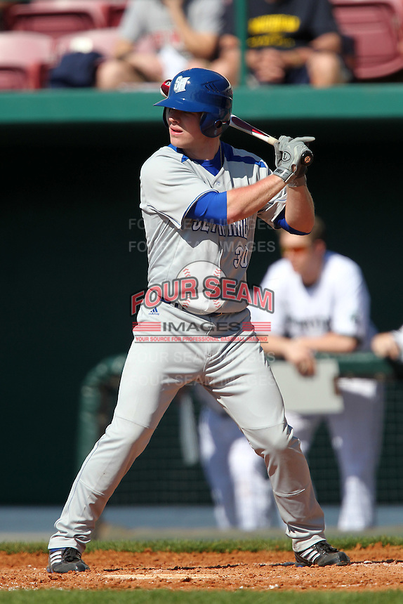 John Beaubien #30 of the Seton Hall Pirates during the Big East-Big Ten Challenge vs. the Michigan State Spartans at Al Lang Field in St. Petersburg, Florida;  February 19, 2011.  Michigan State defeated Seton Hall 5-4.  Photo By Mike Janes/Four Seam Images
