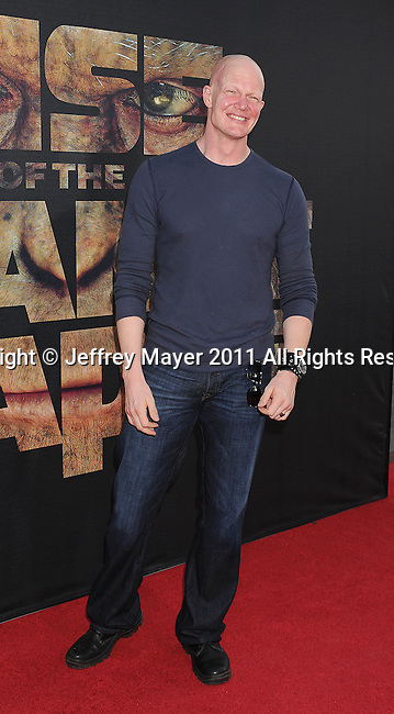 "HOLLYWOOD, CA - JULY 28: Derek Mears arrives at the ""Rise Of The Planet Of The Apes"" Los Angeles Premiere at Grauman's Chinese on July 28, 2011 in Hollywood, California."