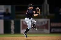 Visalia Rawhide shortstop Camden Duzenack (4) makes a throw to first base during a California League game against the Lancaster JetHawks at The Hangar on May 17, 2018 in Lancaster, California. Lancaster defeated Visalia 11-9. (Zachary Lucy/Four Seam Images)
