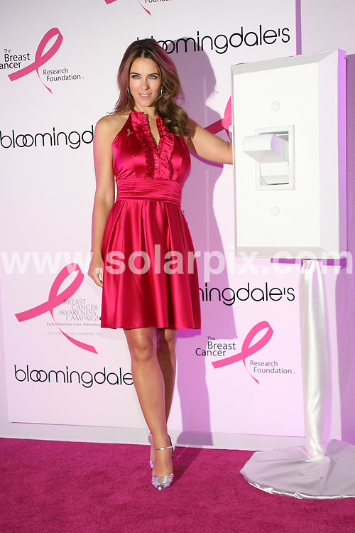 """**ALL ROUND PICTURES FROM SOLARPIX.COM**.**SYNDICATION RIGHTS FOR UK, SPAIN, PORTUGAL, AUSTRALIA, S.AFRICA & DUBAI (U.A.E) ONLY**.Elizabeth Hurley helps to launch Bloomingdale's """"59th Street Shines Pink"""" to Benefit the Breast Cancer Research Foundation. Bloomindale's at 59th Street and Lexington Avenue, New York City, NY, USA. 2nd October 2008..JOB REF: 7516 PHZ (SGY)    DATE: 02_10_2008 .**MUST CREDIT SOLARPIX.COM OR DOUBLE FEE WILL BE CHARGED* *UNDER NO CIRCUMSTANCES IS THIS IMAGE TO BE REPRODUCED FOR ANY ONLINE EDITION WITHOUT PRIOR PERMISSION*"""