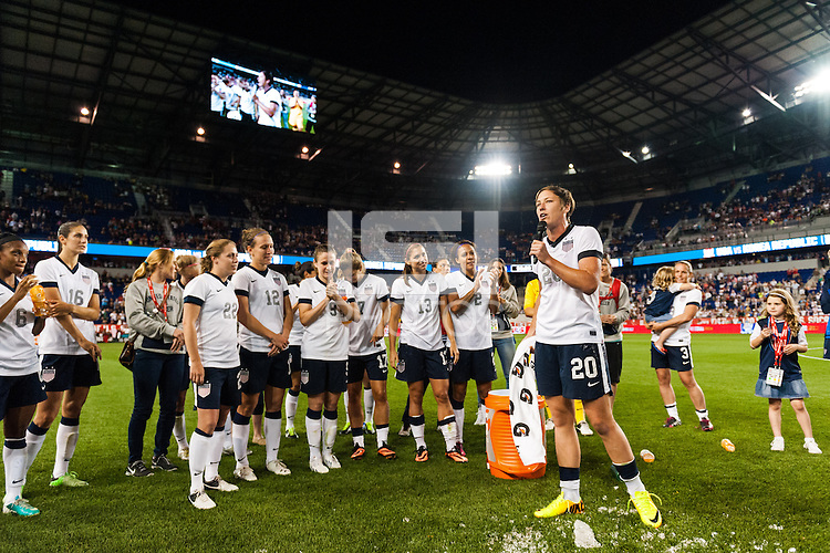 United States (USA) forward Abby Wambach (20) addresses the fans after the match. The women's national team of the United States defeated the Korea Republic 5-0 during an international friendly at Red Bull Arena in Harrison, NJ, on June 20, 2013.