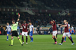 The referee Paolo Valeri shows a red card to Armando Izzo of Torino FC for a foul on Fabio Quagliarella of Sampdoria in the penalty area during the Serie A match at Stadio Grande Torino, Turin. Picture date: 8th February 2020. Picture credit should read: Jonathan Moscrop/Sportimage