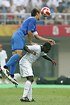 07 August 2008: Hiroki Mizumoto (JPN) (left) leaps over Freddy Adu (USA) (right) for a header.  The men's Olympic team of the United States defeated the men's Olympic soccer team of Japan 1-0 at Tianjin Olympic Center Stadium in Tianjin, China in a Group B round-robin match in the Men's Olympic Football competition.