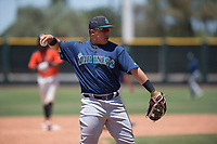 Seattle Mariners third baseman Nolan Perez (57) during an Extended Spring Training game against the San Francisco Giants Orange at the San Francisco Giants Training Complex on May 28, 2018 in Scottsdale, Arizona. (Zachary Lucy/Four Seam Images)