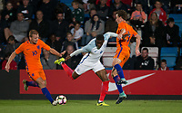 Stephy Mavididi (Preston North End (on loan from Arsenal) of England U20 tries to find a way through during the International friendly match between England U20 and Netherlands U20 at New Bucks Head, Telford, England on 31 August 2017. Photo by Andy Rowland.