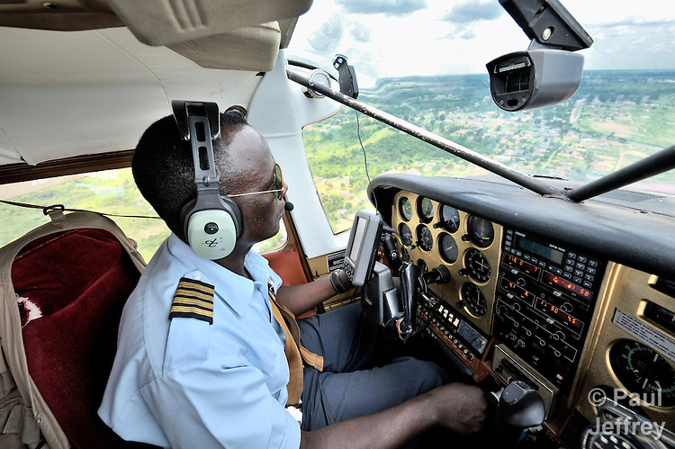 Flying from Tunda to Kananga over the Congo with Jacques Umembudi Akasa, a United Methodist missionary pilot for Wings of Caring Aviation, a program of the United Methodist Church in the Democratic Republic of the Congo.