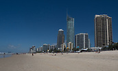16th March 2018, Surfers Paradise, Gold Coast, Queensland, Australia;  Surfers Paradise prepare for the Commonwealth Games 2018;  The Surfers Paradise beach looking southwards