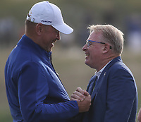 EUROPE WIN. Thomas Bjorn (Team Europe Captain) and Keith Pelley enjoy the moment after the Sunday's Singles, at the Ryder Cup, Le Golf National, Île-de-France, France. 30/09/2018.<br /> Picture David Lloyd / Golffile.ie<br /> <br /> All photo usage must carry mandatory copyright credit (© Golffile | David Lloyd)