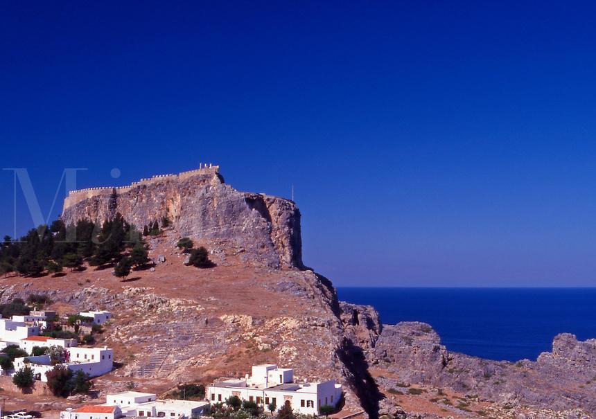 Greece. Dodecanese Islands. Rhodes.The Acropolis at Lindos village