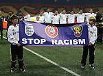 Kids holds up an anti-racism banner in the Luznikhi Stadium, Moscow<br /> <br /> Euro 2008 Qualifier<br /> Russia v England<br /> 17th October 2007<br /> --------------------<br /> Sportimage +44 7980659747<br /> admin@sportimage.co.uk<br /> http://www.sportimage.co.uk/