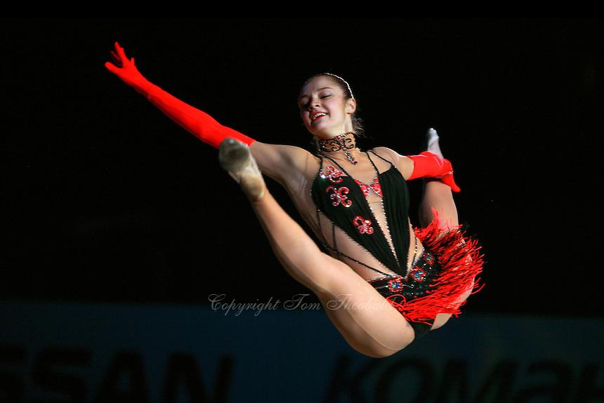 """Anna Bessonova of Ukraine split leaps during handsfree gala exhibition at 2007 World Cup Kiev, """"Deriugina Cup"""" in Kiev, Ukraine on March 18, 2007."""