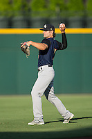 Pete Kozma (7) of the Scranton/Wilkes-Barre RailRiders warms up in the outfield prior to the game against the Charlotte Knights at BB&T BallPark on July 20, 2016 in Charlotte, North Carolina.  The RailRiders defeated the Knights 14-2.  (Brian Westerholt/Four Seam Images)