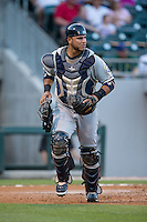 Columbus Clippers catcher Guillermo Quiroz (29) on defense against the Charlotte Knights at BB&T BallPark on May 3, 2016 in Charlotte, North Carolina.  The Clippers defeated the Knights 8-3.  (Brian Westerholt/Four Seam Images)