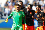 Valencia CF's Diego Alves, Aderllan Santos, Enzo Perez and Jose Luis Gaya celebrate during La Liga match. September 25,2016. (ALTERPHOTOS/Acero)