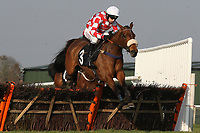 Milly Malone ridden by Leighton Aspell jumps the last in the Follow Plumpton Racecourse On Facebook Mares Handicap Hurdle