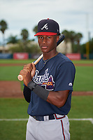 GCL Braves Kadon Morton (5) poses for a photo after a Gulf Coast League game against the GCL Orioles on August 5, 2019 at Ed Smith Stadium in Sarasota, Florida.  GCL Orioles defeated the GCL Braves 4-3 in the second game of a doubleheader.  (Mike Janes/Four Seam Images)