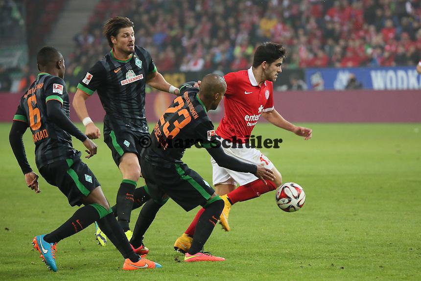 Jairo Samperio (Mainz) setzt sich durch - 1. FSV Mainz 05 vs. SV Werder Bremenl, Coface Arena