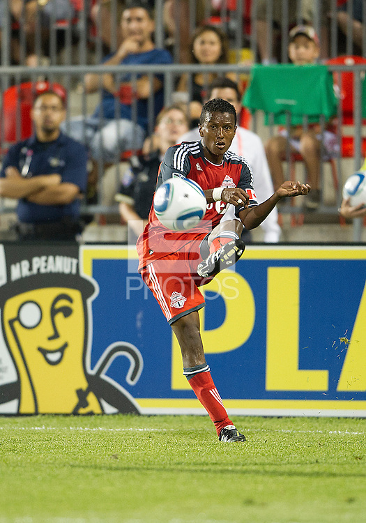 Toronto FC defender Danleigh Borman #25 in action during an MLS game between the FC Dallas and the Toronto FC at BMO Field in Toronto on July 20, 2011..FC Dallas won 1-0.