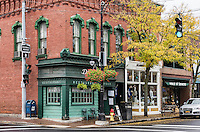 Shops in the town of Corning, Steuben County, New York, USA