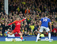 23rd  November 2019; Goodison Park , Liverpool, Merseyside, England; English Premier League Football, Everton versus Norwich City; Todd Cantwell of Norwich City plays a long pass across the pitch  Strictly Editorial Use Only. No use with unauthorized audio, video, data, fixture lists, club/league logos or 'live' services. Online in-match use limited to 120 images, no video emulation. No use in betting, games or single club/league/player publications