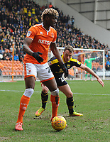 Blackpool's Armand Gnanduillet under pressure from Oxford United's Sam Long<br /> <br /> Photographer Kevin Barnes/CameraSport<br /> <br /> The EFL Sky Bet League One - Blackpool v Oxford United - Saturday 23rd February 2019 - Bloomfield Road - Blackpool<br /> <br /> World Copyright © 2019 CameraSport. All rights reserved. 43 Linden Ave. Countesthorpe. Leicester. England. LE8 5PG - Tel: +44 (0) 116 277 4147 - admin@camerasport.com - www.camerasport.com