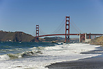 San Francisco: Baker Beach with Golden Gate Bridge in background.  Photo # 2-casanf83317.  Photo copyright Lee Foster
