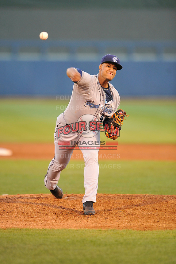 Corpus Christi Hooks starting pitcher Bryan Abreau (44) throws a pitch against the Tulsa Drillers at Oneok Stadium on May 4, 2019 in Tulsa, Oklahoma.  The Hooks won 9-7.  (Dennis Hubbard/Four Seam Images)