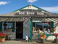 Dog Bark Park gift shop where you can buy chainsaw carved dog.