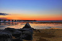 Sunrise over the Coast Guard Pier in Provincetown, Cape Cod.