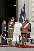 Princess Letizia of Spain, Prince Felipe of Spain and King Juan Carlos of Spain attend the traditional 'Pascua Militar' ceremony at The Royal Palace. January 06, 2013. (ALTERPHOTOS/Caro Marin)