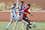 CD Leganes' Vasyl Kravets (l) and Kleandro Lleshi (c) and Rayo Vallecano's Sergio Moreno during friendly match. July 13,2018. (ALTERPHOTOS/Acero)