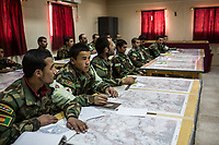 Mortar class where the students of the ANA (Afghan National army) learn how to target the enemies with maps, Kabul, Afghanistan, 6th November 2017.<br /> <br /> Classe de tirs de mortier où les étudiants de l'ANA (armée nationale afghane) apprennent à cibler les ennemis à l'aide de cartes, Kaboul, Afghanistan, 6 novembre 2017.