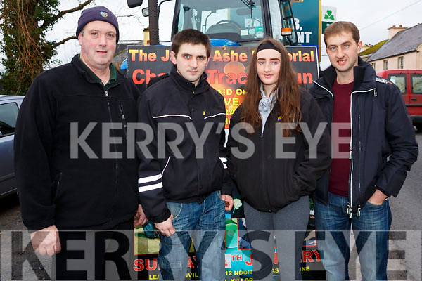 Attending the In the James Ashe Memorial Tractor Run at the Anvil Bar, Boolteens on Sunday last, l to r, f John Galvin Sr, John Galvin Jr, Cassie O'Sullivan and Batty Callahan from Keel.