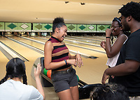Incoming first-years participating in MSI bowl with members of senior staff at All Star Lanes bowling alley in Eagle Rock, July 27, 2018.<br /> The Multicultural Summer Institute (MSI) is a four-week academic/residential program for approximately 50 incoming first-year students who represent a variety of ethnic, regional and cultural backgrounds. Through MSI, Occidental College introduces its student body to the social, cultural and intellectual resources of Southern California, and familiarizes students with the Oxy community and surrounding Los Angeles area.<br /> (Photo by Marc Campos, Occidental College Photographer)