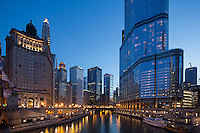 river view from Michigan Avenue bridge, near Wrigley Building, Chicago, IL (Trump Tower on right)